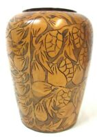 Wood Hand Carved Vase Wooden Flower Design