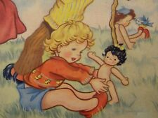 Ancien jouet puzzle bois jeux enfants poupée Golli lessiveuse années 1930/40