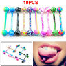 10/20pcs Ball Tongue Navel Nipple Barbell Rings Bars Sexy Body Jewelry Piercing