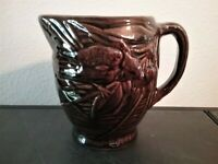 "Vintage Art Pottery Pitcher W/Bird Eating Berries, 5 1/4"" Tall, Dark Brown Glaze"
