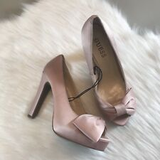 Guess Blush Pink Satin Peeptoe Bow Heels Sandals Sz 7.5