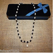 Genuine Fresh Water Cultured Pearls And Onyx Necklace With Silk Cord
