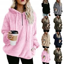 Women's Thick Warm Fluffy Fleece Sweater Ladies Winter Zipper Pullover Jumper UK