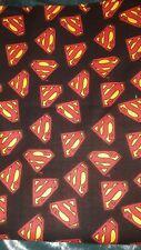 "SUPERMAN Superhero Shield Logo Black Cotton Fabric DC Comics Fat Quarter 18x21"""