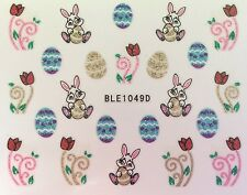 Nail Art 3D Stickers Glitter Decals Easter Bunny Easter Eggs Flowers BLE1049D