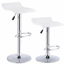 Set Of 2 Swivel Bar Stools Adjustable PU Leather Backless Dining Chair (White)