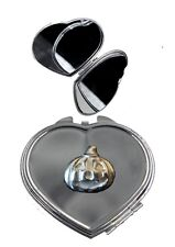 Smirking Pumpkin 2.5x2.4cm ft105 Pewter on Heart Shape Compact Mirror