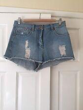 High Waist Light Wash Denim Shorts - Size 12