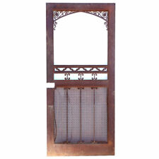 Vintage American Gothic Revival Hammered Iron & Steel Screen Single Door c. 1929