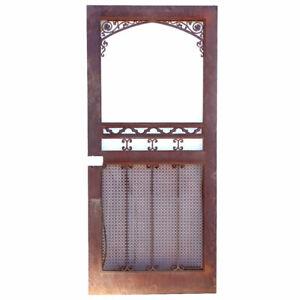 Vintage American Gothic Revival Hammered Iron & Steel Screen Single Door c. 1929