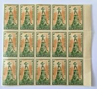 1945 New Zealand Health Stamps 1d Peter Pan Right Block of 15