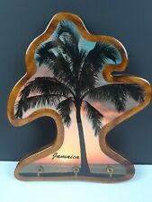 "Vintage ""90s"" Jamaican Sunset Beach Wood Wall Keyholder with 3 Key Hooks"