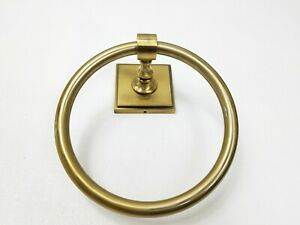 Pottery Barn Brass Gold Pearson Towel Ring Holder Beveled Wall Mount New $44