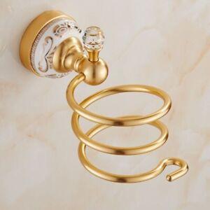 Aluminum Hair Dryer Holder Bathroom Shelf Bolt Inserting Ceramic Base Bath Gold