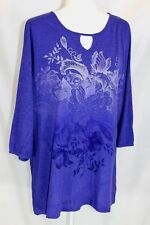 35582e72 JMS Women's 18-20W Purple Glitter Floral 3/4 Stretch Cuff Sleeve Thin Jersey