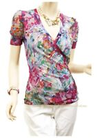 Monet Print Fuchsia Rose Lace Layered Short Sleeve Romantic Fitted Blouse Top