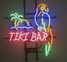 "New Tiki Bar Parrot Palm Tree Beer Bar Light Lamp Neon Sign 17""x14"""