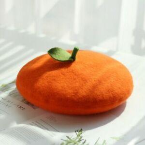 Lady Beret Caps Painter Hat Lolita Wool Blended Sweet Fruit Orange Handmade Cute