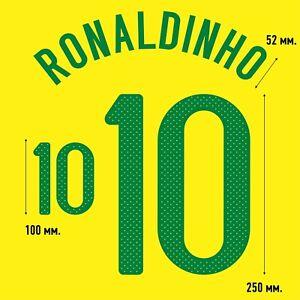 Ronaldinho 10. Brazil Home football shirt 2010 2011 FLEX NAMESET NAME SET