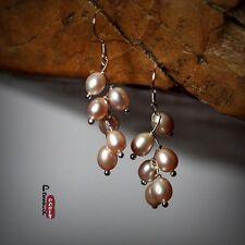 Boucles d/'Oreilles Perle de Culture d`Eau Douce Multicolore Grape Argent 925 001