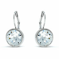 Bella Mini Drop Earrings with White Clear Round Crystals from Swarovski