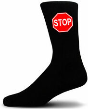 Stop Sign - Black Novety Socks - Special Socks | Perfect Gift