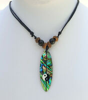 Natural Abalone Shell Surfboard Pendant Beads Cords Necklace Women Jewelry GA190