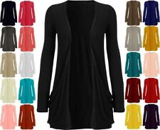 NEW LADIES LONG SLEEVES POCKET CARDIGAN WOMEN BOYFRIEND TOP SIZE 8-26