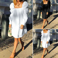 Women Puff Sleeve Party Formal Dresses Plus Size Casual Knee Length Shirt Dress