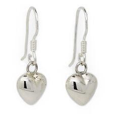 Genuine Sterling Silver 8mm Pouch Heart Drop Earrings (SE386)