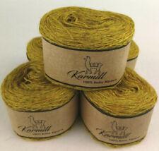 Alpaca Wool Skeins 100% Baby Alpaca Yarn Lot of 5 Mustard Color C738