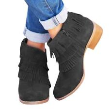 Women's Ankle Booties Block Low Heels Side Zipper Boots Casual Shoes Size 3.5-8