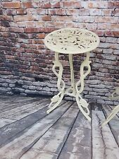 Antique Victorian White Cast Iron Ornate Plant Stand w/ Butterfly Top Design