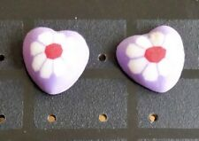 Unique FIMO Heart Flower Patterned Stud Allergy Free Earrings - Various Colours