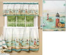 Nautical Seaside Bar Harbor Lighthouse Boat Kitchen Window Valance Curtain Tiers