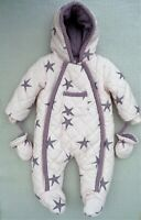 Mamas and Papas Baby Girls Pink Lilac Star Quilted Snowsuit Pramsuit 0-3 months