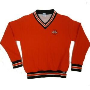 Mens Medium Russell Athletic Ohio State Waffle Knit V Neck Pullover Sweatshirt