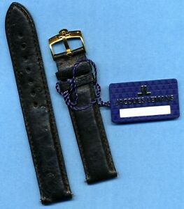 GENUINE BLACK OSTRICH STRAP BAND 18mm & GENUINE OMEGA GOLD PLATED BUCKLE TANG