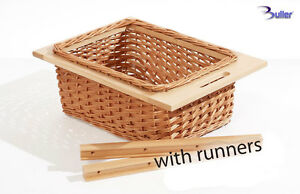 Wicker Basket Drawer Pull out With Handle For 400mm Cabinet, With Beech Runners