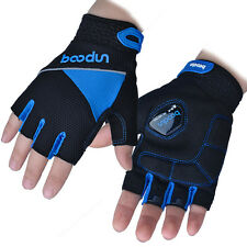 Blue Sports Cycling Gloves Half Finger Mesh Bike Shockproof Glove Reflective