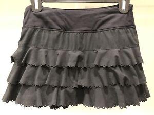 Lululemon Run Weightless Skort Skirt ~ Sz 2 ~ Black ~ Laser Cut Multi Tier ~ GUC