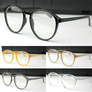 Classic Oval Clear Lens Fashion Glasses Plastic Frame Keyhole Women's Men's
