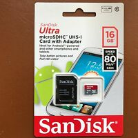SanDisk 16GB Ultra Memory Card Micro SD SDHC UHS-1 CLASS 10 80MB/s + SD Adapter