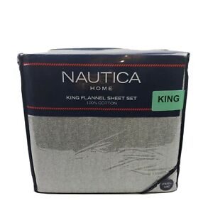 Nautica Flannel 4 Piece White Gray Herringbone Pattern Cotton King Sheet Set