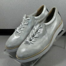 7815028 LSP30 Women's Shoes Size 7 M Silver Leather Lace Up Johnston & Murphy