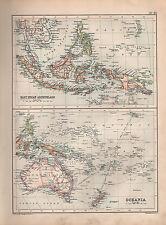1901 VICTORIAN MAP ~ EAST INDIAN ARCHIPELAGO BORNEO PHILIPPINE MALAY ~ OCEANIA