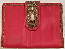 VINTAGE AUTHENTIC VICTORIAN ART METAL THREAD RED SILK BLEND WOMEN'S WALLET PURSE
