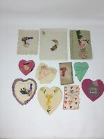 Victorian Child's Handmade Valentine Cards Large Lot of 11 Cut Outs Antique