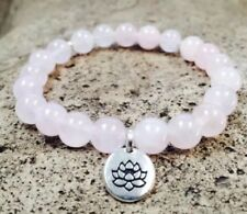 NATURAL ROSE QUARTZ BRACELET BANGLE SILVER LOTUS YOGA MALA BEADS MEDITATION BOHO