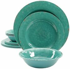 Rustic 12 Pcs. Durable Melamine Dinner set For 4 Person - Green